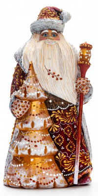 240 mm Santa with a Magic Staff and a Christmas Green Tree Carved Wood Hand Painted Collectible Figurine (by Natalia Nikitina Workshop)