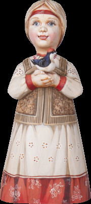 220 mm Russian Girl in a Traditional Dress with a Dove hand painted Wooden Sculpture (by Karpova Nadezda)