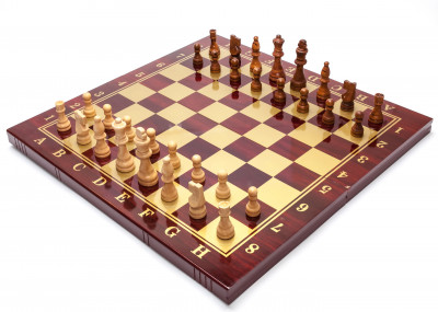 480x480 mm Hand Carved Chess Pieces on Polished Wood Board Box (by Fyodor Chess Workshop)