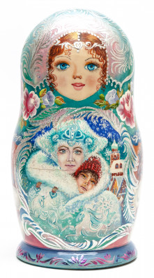 230 mm The Snow Queen hand painted on Wooden Matryoshka doll 10 pcs (by Valeria Crafts)
