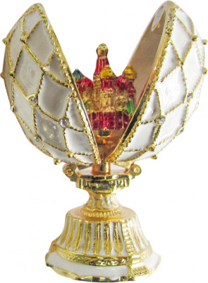 70 mm Saint Basil's Cathedral Golden Trellis White Enamel Easter Egg