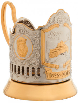 T-34 Tank Gold Plated Brass Tea Glass Holder with Crystal Glass and Gold Plated Tea Spoon (by Kolchugino)