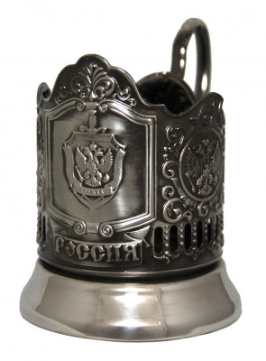 FSS of Russia Nickel Plated Brass Tea Glass Holder with Faceted Glass (by Kolchugino)