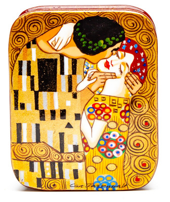 60x80mm The Kiss by Klimt Hand Painted Jewellery Box (by Tatiana Arts)