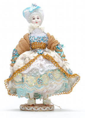 Young Lady Porcelain Doll on a Stand - 11 Inches