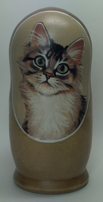 160mm Cat hand painted Matryoshka 5pcs (by Alexander Famous Paintings)