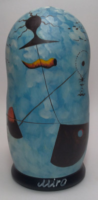 180 mm The Maternity by Miro hand painted on wooden Matryoshka doll 5 pcs (by Alexander Famous Paintings Studio)