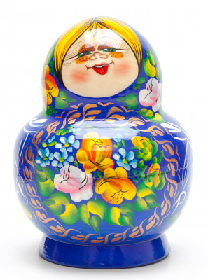 140 mm Freckles and Blue Dress hand painted Wooden Matryoshka Doll 10 pcs (by Freckles Studio)