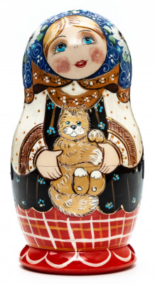 110 mm Russian Girl in Traditional Dress plays with Kitten hand painted wooden Matryoshka doll 5 pcs (by A Studio)