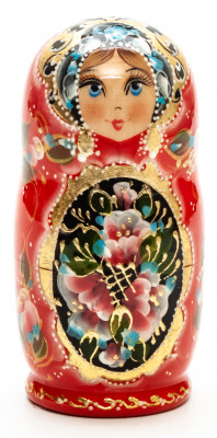 100 mm Zhostovo round hand painted Russian Matryoshka doll 5 pcs (by A Studio)