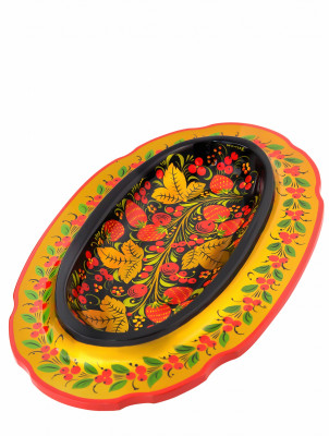 300x180 mm Khokhloma hand painted wooden Bread Bowl (by Golden Khokhloma)