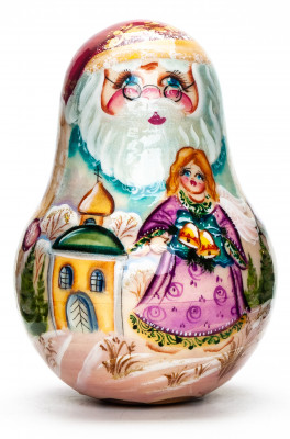 110mm Santa Claus with handpainted Girl with Bells Roly-poly Toy