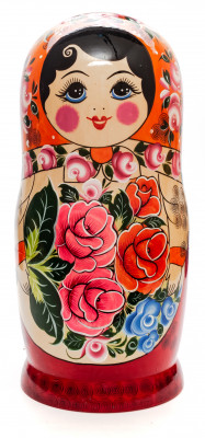 Orange Scarf hand painted Wooden Russian Matryoshka with 20 dolls inside