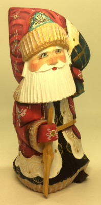 150 mm Santa Claus with a Huge Bag of Gifts Carved Wooden Figure hand-painted (by Igor Wooden Carvings Studio)