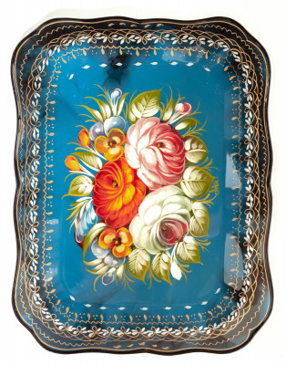 250x320 mm Zhostovo Patterns hand painted and lacquered Metal Forged Tray (by Lada Crafts)