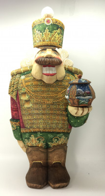 350 mm Nutcraker Hand Carved and Painted Wooden Statue with Gift Box