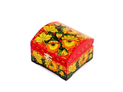 Khokhloma Painting Jewellery Wooden Box 90x90mm