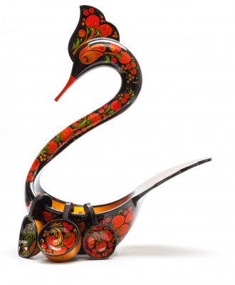 140x230 mm Duck Khokhloma hand painted wooden Ladle for Wine with small Ladles