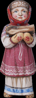 220 mm Russian Girl in a Traditional Winter Dress and Scurf carrying firewood hand painted Wooden Sculpture (by Karpova Nadezda)