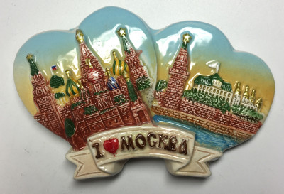 90x60 mm Moscow Snt Basil Cathedral and Moscow Kremlin Ceramic Fridge Magnet (by Skazka)