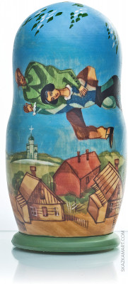 200 mm La Promenande by Chagall hand painted wooden Matryoshka doll 5pcs (by Alexander Studio)