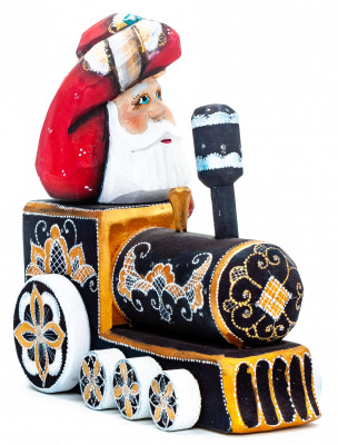 140 mm Santa with a Bag Riding the Train Carved Wood Hand Painted Collectible Figurine (by Igor Carved Wooden Figures Studio)