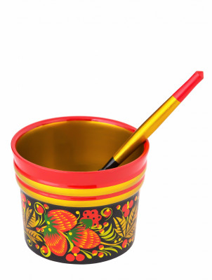 70x90 mm Khokhloma hand painted wooden Cup with Spoon (by Golden Khokhloma)