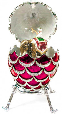 92 mm Red Pine Cone with Elephant inside Easter Egg