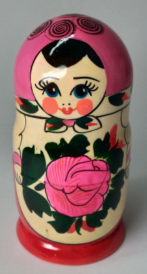 130 mm Pink Head Semenovskaya handpainted wooden Matryoshka Doll 6 pcs (by Ivan Studio)