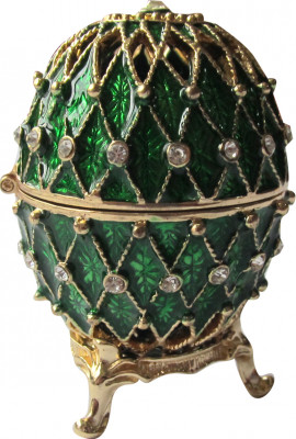 70 mm Golden Trellis on Green Enamel Easter Egg