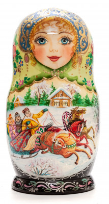 160mm Russian Winter hand painted Matryoshka doll 5pcs