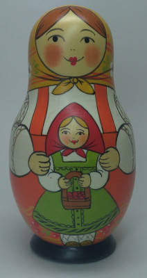 110 mm Mother with Daughter hand painted Traditional Russian Wooden Matryoshka doll 5 pcs (by Igor Malyutin)