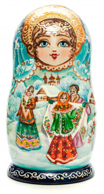 200 mm Russian Winter hand painted on Wooden Matryoshka doll 7 pcs (by Valeria Crafts)