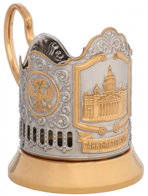 Saint Isaac's Cathedral Gold Plated Brass Tea Glass Holder with Crystal Glass and Gold Plated Tea Spoon (by Kolchugino)
