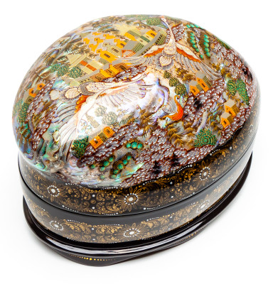 130x90mm Russian North Hand Painted Jewellery Box (by Sadko Workshop)