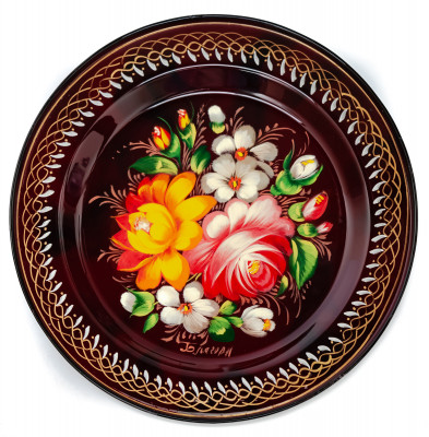 d 180 mm Zhostovo Patterns hand painted and lacquered by Blagova Metal Forged Carmine Tray (by Lada Crafts)