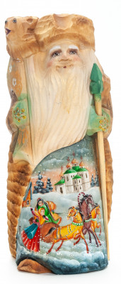 210 mm Santa with a Magic Staff and a Bear with handpainted Russian Troika Wooden Carved Statue (by Igor Carved Wooden Figures Studio)