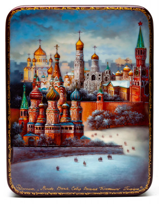 135x175mm Moscow Kremlin hand painted lacquered jewelery box (by Panferoff Studio)