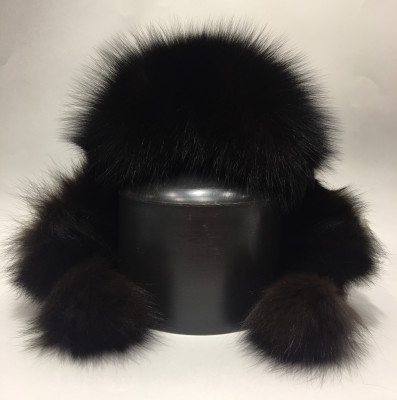 Black Polar Fox Fur Bomber Hat