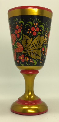 150x70 Strawberries handpainted wooden Wineglass (by Golden Khokhloma)