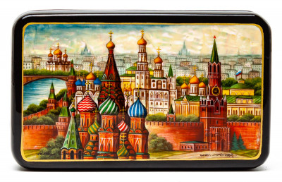 150x90mm Moscow Kremlin hand painted lacquered jewelery box (by Tatiana Shkatulka Crafts)