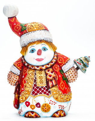 230 mm Snowman with a Christmas Green Tree hand painted wooden figurine (by Natalia Nikitina Workshop)