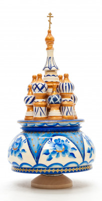 210 mm Saint Basil's Cathedral Gzhel Art hand painted Wooden Music Box (by Nightingale Crafts)