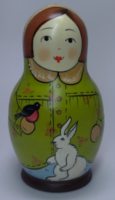 110 mm Mistress with Hare hand painted Traditional Russian Wooden Matryoshka doll 5 pcs (by Igor Malyutin)