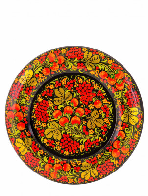 Spring Golden Khokhloma Floral handpainted Ornaments Wall Plate wooden Tray d 315