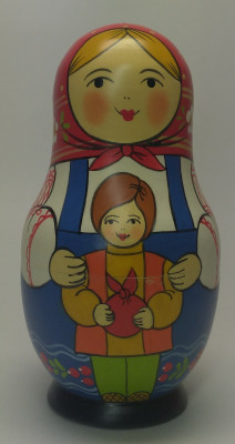 110 mm Mother with Son hand painted Traditional Russian Wooden Matryoshka doll 5 pcs (by Igor Malyutin)