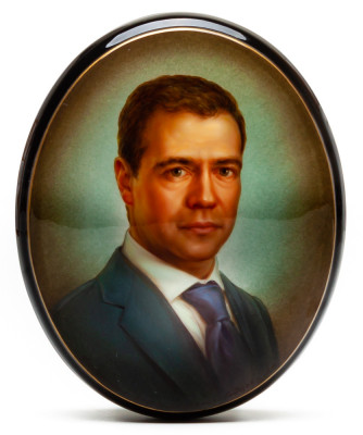 115x95mm Dmitriy Medvedev portrait Hand Painted Jewellery Box (by Alexander G Studio)