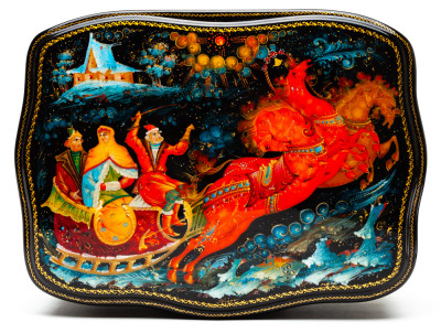 200x150mm Russian Fairytale Hand Painted Jewellery Box (by Sadko Workshop)
