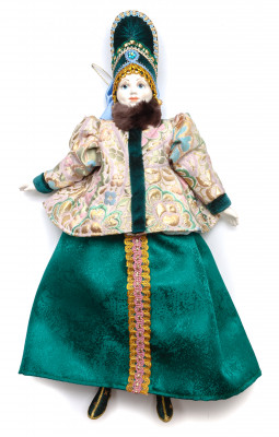 The Girl in a Winter Dress and Hat hand-sewn Porcelain Doll - 16 Inches