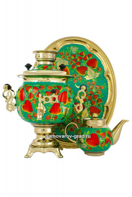 Apple Hand Painted Electric Samovar Kettlewith Teapot and Tray